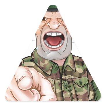 Pointing Soldier Cartoon Triangle Sticker