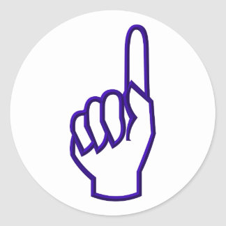 Pointing up finger/hand classic round sticker