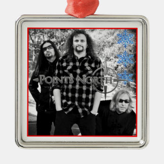 Points North Xmas Square Metal Christmas Ornament