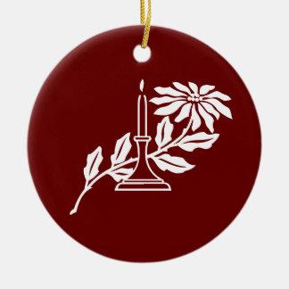 Pointsettia and Candle Ornament