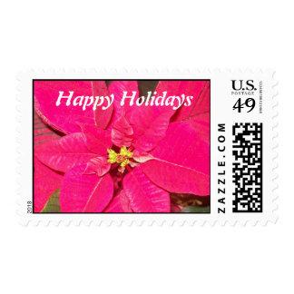 Pointsettia Flower Postage Stamp