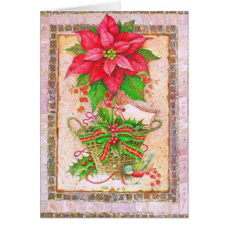 Pointsettia in classic frame card