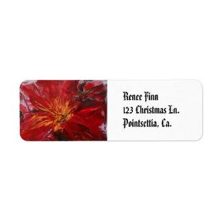"""Pointsettia"" Custom Return Address Labels"