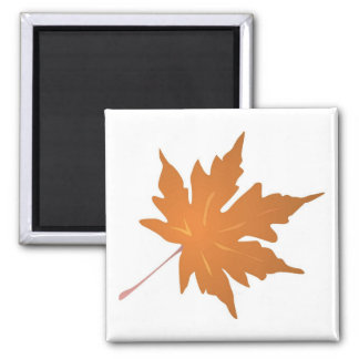 Pointy Brown Maple Leaf 2 Inch Square Magnet