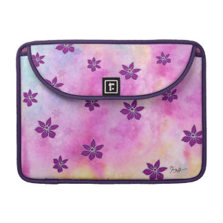 Pointy Dark Flowers on Colorful Watercolors Sleeve For MacBooks