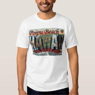Poipu Beach, Hawaii - Large Letter Scenes Shirt