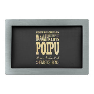 Poipu City of Hawaii Typography Art Rectangular Belt Buckle