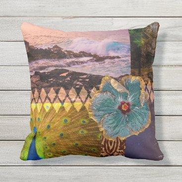 Beach Themed Poipu Sunrise, Kauai Hawaiian Collage Reversible Outdoor Pillow