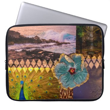 Beach Themed Poipu Sunrise, Kauai Hawaiian Collage Wetsuit Laptop Sleeve