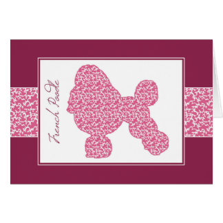 Poised Poodle in Pink Shady Lace Pattern, Card