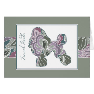Poised Poodle in Sage Blush Garden Pattern, Card