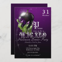 Poison Apple Wicked Witch Purple Halloween Party Invitation