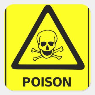 Poison Caution Sign Square Sticker