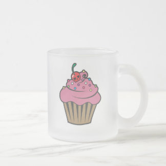 Poison Cherry Cupcake Frosted Glass Coffee Mug