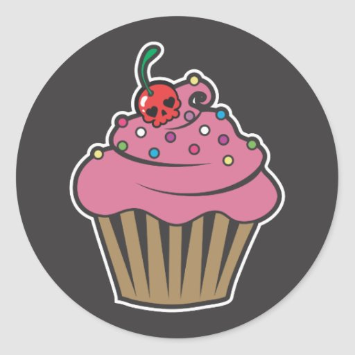 Poison Cherry Cupcake Stickers