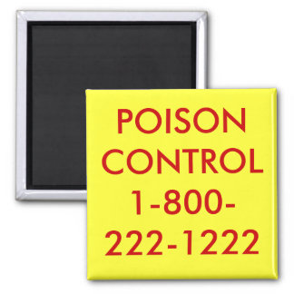 POISON CONTROL1-800-222-1222 2 INCH SQUARE MAGNET