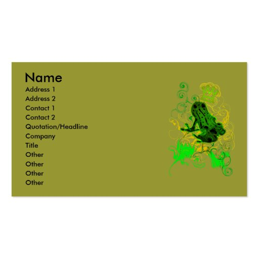 Poison_dart_frog Business Card Template