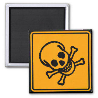 Poison Death Skull Yellow Diamond Warning Sign 2 Inch Square Magnet
