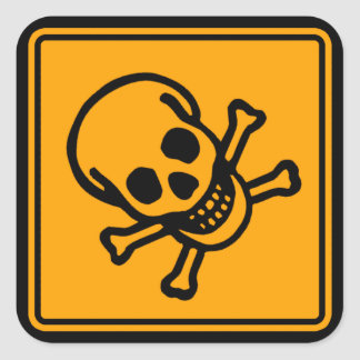 Poison Death Skull Yellow Diamond Warning Sign Square Sticker