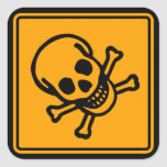 Poison Death Skull Yellow Diamond Warning Sign Square Sticker