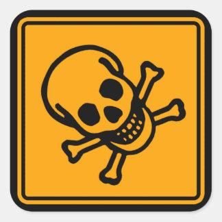 Poison Death Skull Yellow Diamond Warning Sign Sticker