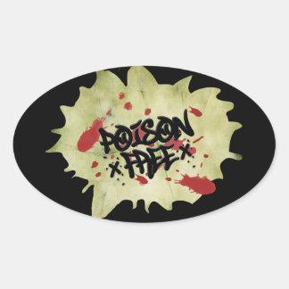 Poison Free Straight Edge Oval Sticker