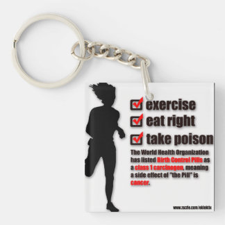 POISON GEAR BIRTH CONTROL PILLS #1 CARCINOGEN Double-Sided SQUARE ACRYLIC KEYCHAIN