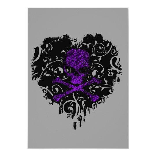 Poison Heart Skull Gothic Bridal Shower Card