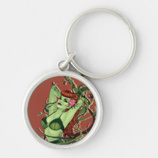 Poison Ivy Bombshell Silver-Colored Round Keychain