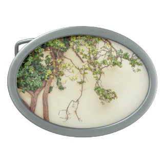 Poison Ivy On A Yellow Wall Oval Belt Buckle