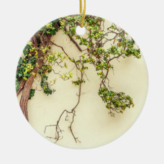 Poison Ivy On A Yellow Wall Double-Sided Ceramic Round Christmas Ornament