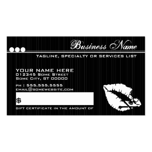 Poison lips gift certificate business card zazzle for Zazzle gift certificate