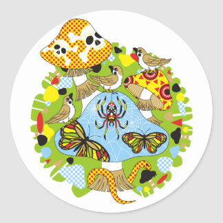 Poison mushroom and sparrow chiyuchiyun chiyun classic round sticker