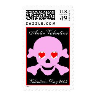 Poison Pink Valentine Skull & Crossbones Hearts Postage Stamp