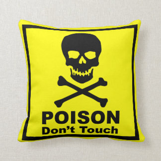 Poison Signboard Throw Pillow