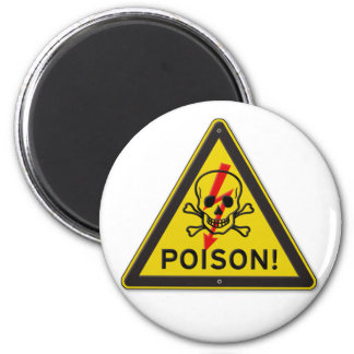 Poison Warning Skull and Crossbones sign 2 Inch Round Magnet