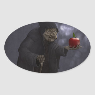 Poisoned apple oval sticker