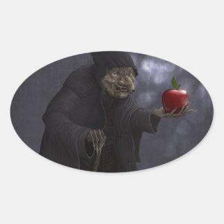 Poisoned apple oval sticker