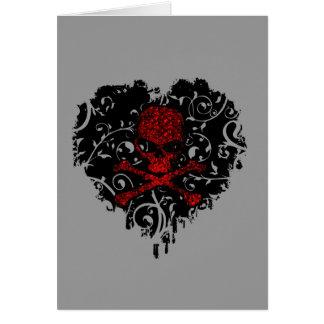 Poisoned Heart Skull Goth Greeting Card