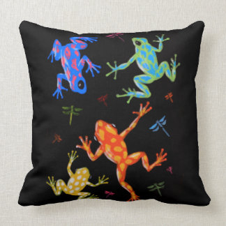 Poisonous frogs painting throw pillow
