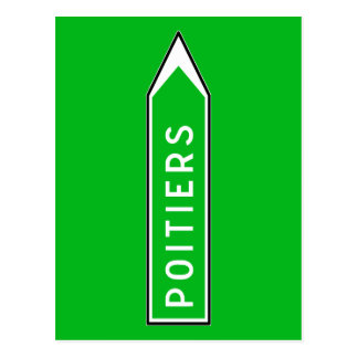 Poitiers, Road Sign, France Postcard