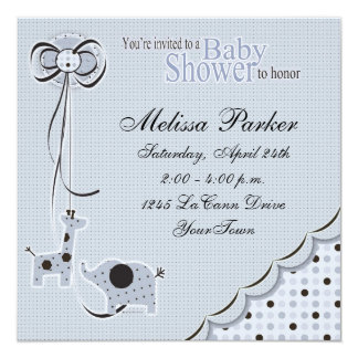 Poka Dots in Blue Baby Shower Invitation
