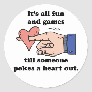 poke a heart out classic round sticker
