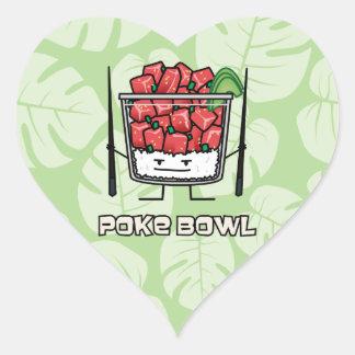 Poke bowl Hawaii raw fish salad chopsticks aku Heart Sticker