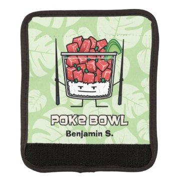 e53040526d7 kitteh03 Poke bowl Hawaii raw fish salad chopsticks aku Luggage Handle Wrap