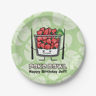 Poke bowl Hawaii raw fish salad chopsticks aku Paper Plate
