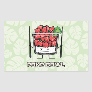 Poke bowl Hawaii raw fish salad chopsticks aku Rectangular Sticker