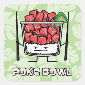 Poke bowl Hawaii raw fish salad chopsticks aku Square Sticker