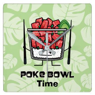 Poke bowl Hawaii raw fish salad chopsticks aku Square Wall Clock