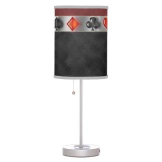 Poker 4 Suites of Cards Black Red Digital Suede Table Lamp